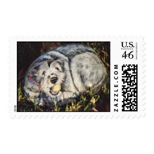 """""""Shorty"""" dog rock stamp"""