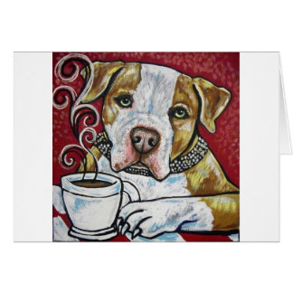 Shorty Rossi s pitbull Hercules drinking coffee Greeting Cards