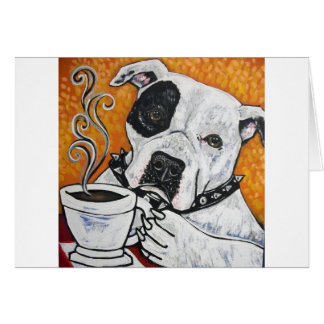 Shorty Rossi s pitbull MUSSOLINI drinking coffee Greeting Card