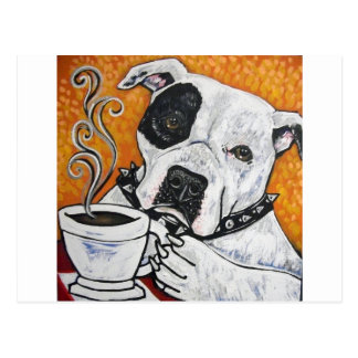 Shorty Rossi s pitbull MUSSOLINI drinking coffee Postcard