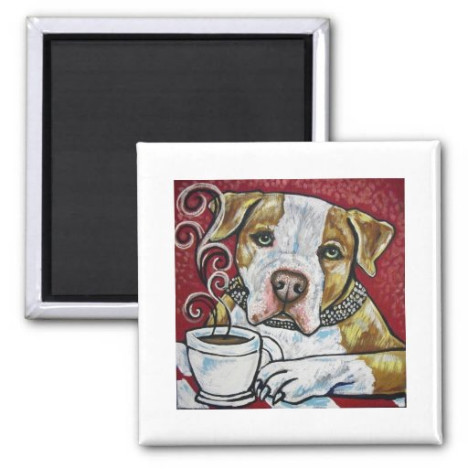Shorty Rossi's pitbull Hercules drinking coffee 2 Inch Square Magnet