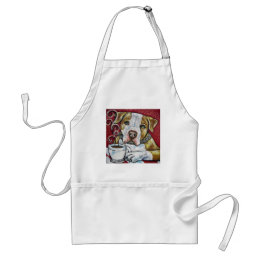 Shorty Rossi's pitbull Hercules drinking coffee Adult Apron
