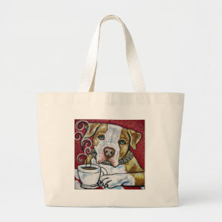 Shorty Rossi's pitbull Hercules drinking coffee Bags