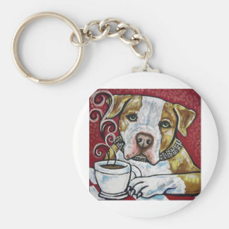 Shorty Rossi's pitbull Hercules drinking coffee Keychains