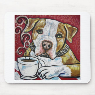 Shorty Rossi's pitbull Hercules drinking coffee Mouse Pads