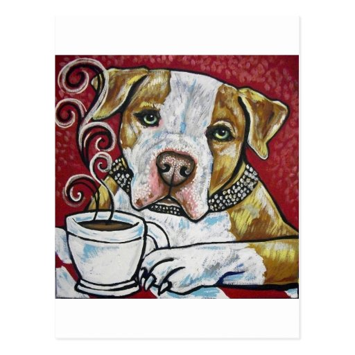 Shorty Rossi's pitbull Hercules drinking coffee Postcard