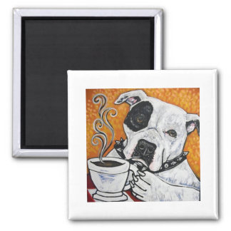 Shorty Rossi's pitbull MUSSOLINI drinking coffee 2 Inch Square Magnet