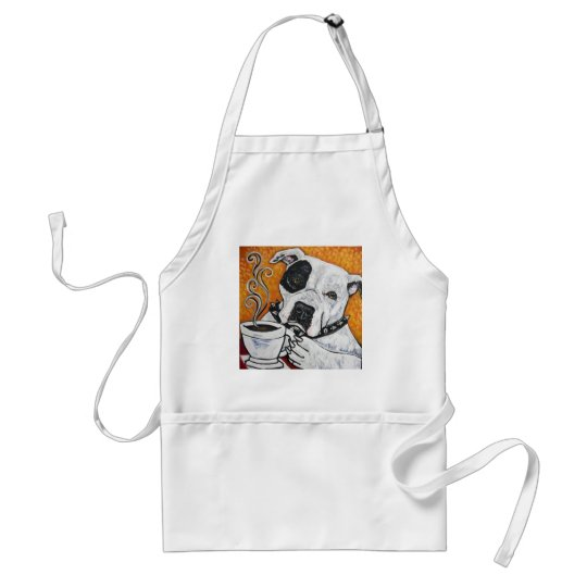 Shorty Rossi's pitbull MUSSOLINI drinking coffee Adult Apron
