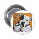 Shorty Rossi's pitbull MUSSOLINI drinking coffee 2 Inch Round Button