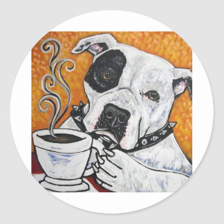 Shorty Rossi's pitbull MUSSOLINI drinking coffee Classic Round Sticker