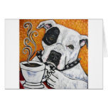 Shorty Rossi's pitbull MUSSOLINI drinking coffee Greeting Card