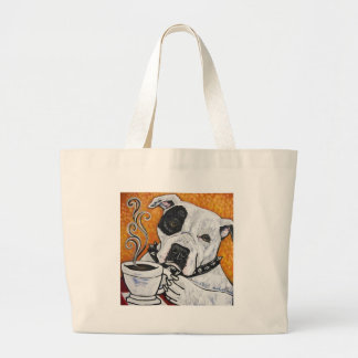 Shorty Rossi's pitbull MUSSOLINI drinking coffee Large Tote Bag