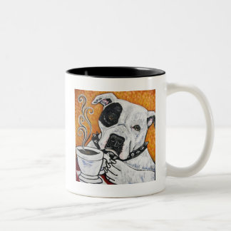 Shorty Rossi's pitbull MUSSOLINI drinking coffee Two-Tone Coffee Mug