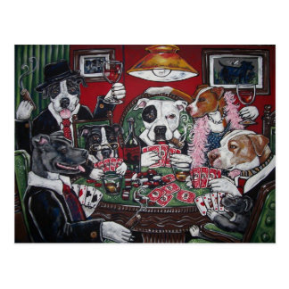 shorty s dogs playing poker postcard