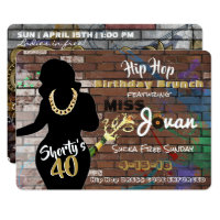Shorty's 40 Hip Hop Birthday Invitations {5x7}