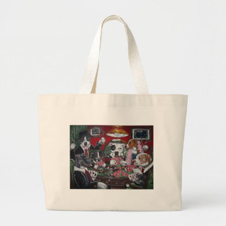 shorty's dogs playing poker large tote bag