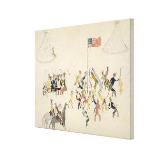 Shoshone dance participated in only by men (pigmen canvas print