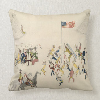 Shoshone dance participated in only by men (pigmen throw pillow