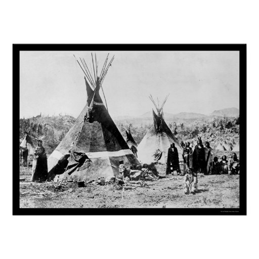 Shoshoni Indian and Skin Tipis 1884 Poster