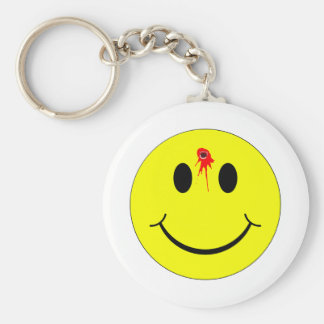 Shot Dead Head Smiley Face Bleeding Bullet Hole Keychain