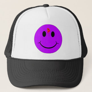 Shot Dead Head Smiley Face Bleeding Bullet Hole Trucker Hat