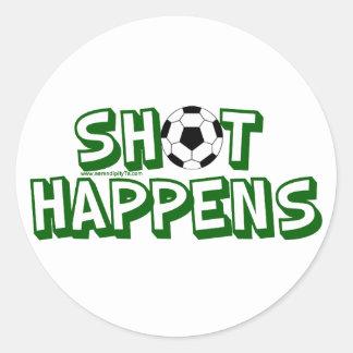 Shot Happens Round Stickers