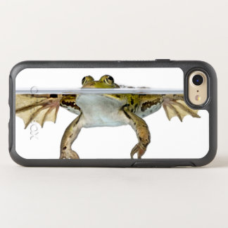 Shot of a Edible frog surfacing in front of a OtterBox Symmetry iPhone 8/7 Case