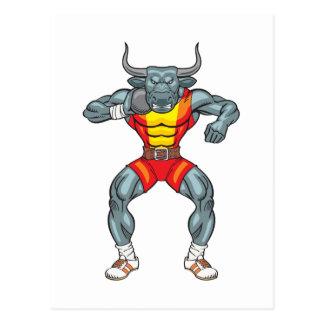 shot put bull 3 postcard