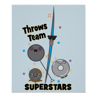 Shot Put Discus Hammer Javelin Throw Poster Gift