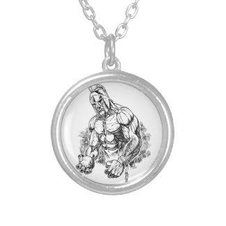 shot put gladiator round pendant necklace