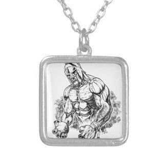 shot put gladiator square pendant necklace