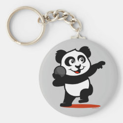 Basic Button Keychain with Cute Shot Put Panda design