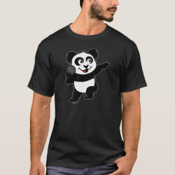 Men's Basic Dark T-Shirt with Cute Shot Put Panda design