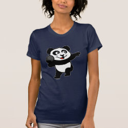 Women's American Apparel Fine Jersey Short Sleeve T-Shirt with Cute Shot Put Panda design