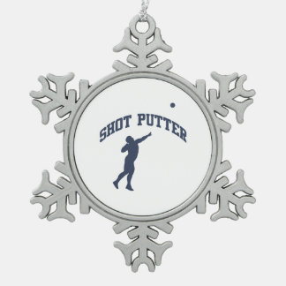 Shot Putter Snowflake Pewter Christmas Ornament