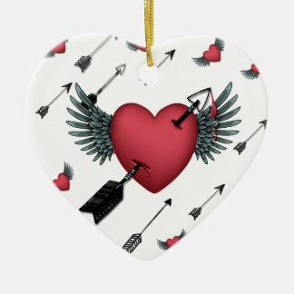 Shot Through the Heart Ceramic Ornament