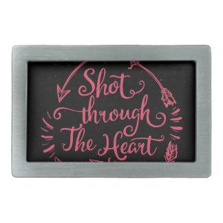 Shot through the heart rectangular belt buckle