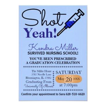 Beach Themed Shot Yeah! Blue Nursing School Graduation Invite