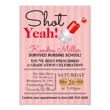 Beach Themed Shot Yeah! Nursing School Graduation Invitation