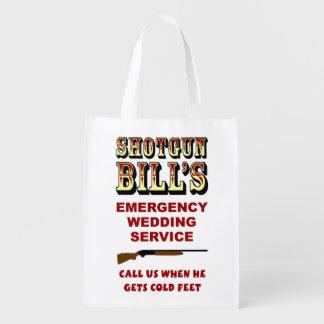 SHOTGUN BILL'S WEDDING REUSABLE GROCERY BAGS