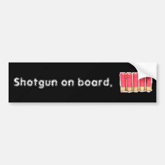 Shotgun on board bumper sticker