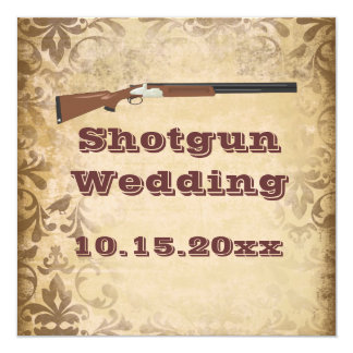 Shotgun Wedding Brown Damask Wedding Invitations