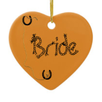 Shotgun Wedding Heart Charm Ceramic Ornament