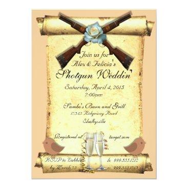 McTiffany Tiffany Aqua Shotgun Wedding Invitations in Soft Peach
