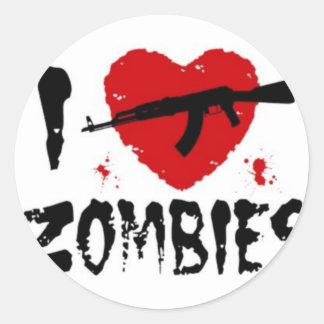Shotgun Zombies Classic Round Sticker