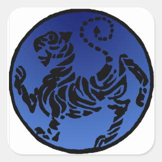 Shotokan Black & Blue Tiger Square Sticker