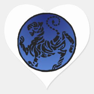 Shotokan Black & Blue Tiger Heart Sticker