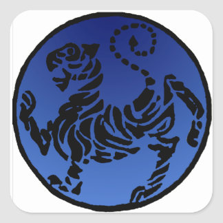 Shotokan Black & Blue Tiger Square Stickers