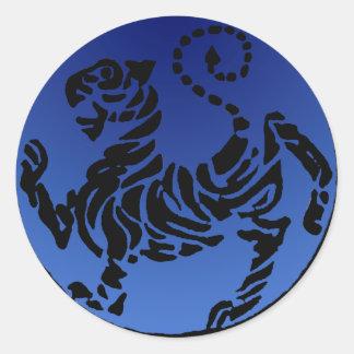 Shotokan Black & Blue Tiger Round Stickers