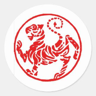 Shotokan Red Rising Sun Tiger Japanese Karate Round Stickers